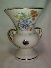 """Crown Stafford China 12"""" Vase made in  USA Cream color Floral Gold Accent Trim"""