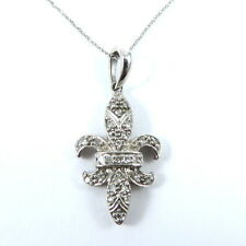 Elegant Fleur-de-Lis 10K White Gold Pave Round Diamond Pendant Necklace