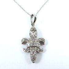 Elegant Fleur-de-Lis 10K White Gold Pave Round Diamond Pendant Necklace
