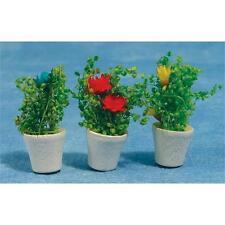 3 pots de fleurs pour maison de poupées ou fée jardins & portes 12th scale miniatures