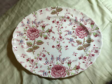 "VINTAGE JOHNSON BROS ""ROSE CHINTZ"" OVAL SERVING PLATTER - 10 1/2"" - GOOD USED"