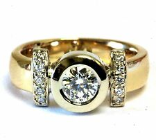 14k yellow gold .60ct bezel diamond engagement ring 7.2g vintage estate antique