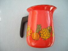 Orange Enamel Mushrooms Artichokes Pitcher Vintage Enamelware