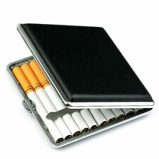 Black Pocket Slim Metal & Leather Tobacco Box Case Container For 20 Cigarettes