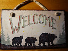 RUSTIC LODGE WELCOME BLACK BEAR STARS & MOON SKY Wood Cabin Sign Home Decor NEW