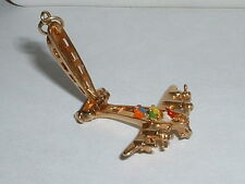 VINTAGE 14k YELLOW GOLD 3D MOVEABLE AIRPLANE PLANE CHARM