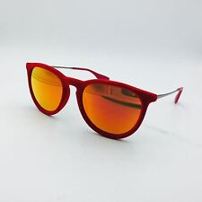 Ray Ban Erika RB4171 6076/6O Red Round Sunglasses w/ Red Mirrored lenses