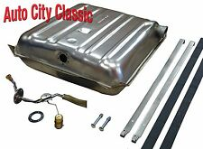 """55 56 Chevy gas fuel tank OE finish & 3/8"""" STAINLESS sending unit & Strap kit"""