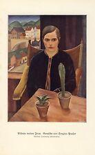 Bildnis meiner Frau Druck 1930 von Sergius Pauser * Wien † Klosterneuburg Kaktus