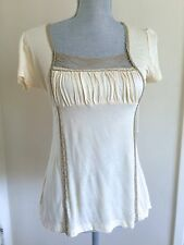 ANTHROPOLOGIE Lux light yellow baby doll floral lace tie back empire cue tee
