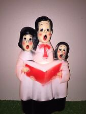 "Vintage Christmas 13 1/2"" Lighted Blow Mold Caroler Trio Table/Yard Decoration"