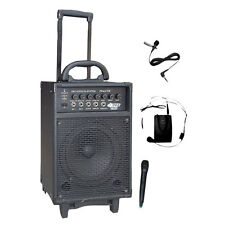 300 Watt Dual Channel Wireless Rechageable Portable PA System With Handheld Mic