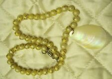 Vintage Swirl Bead Necklace, Mother Of Peal Pendant, Designed Upcycled Jewelry