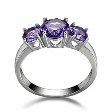 14KT Women's White Gold Filled Engagement Ring Amethyst 3 Stone Jewelry Size 7.5