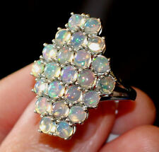 UK O,T large ETHIOPIAN FIRE OPAL solid 925 LONG RING Platinum Sterling Silver
