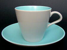 1960's Poole Twintone Range Sky Blue Tea or Coffee Cups & Saucers Look in VGC