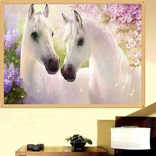 5D White Two Horse Love Cross Stitch Diamond Embroidery Painting Home Decor DIY