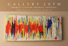 "MONUMENTAL ABSTRACT MODERN OIL PAINTING! "" PRIMAL""  Vtg Art Interior Decorator"