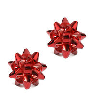 RED CHRISTMAS THEME BOW RED Christmas Bow Stud Earrings