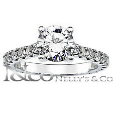 14K White Gold 1.85 cttw Round Diamond Semi Eternity Engagement Ring 6 Sizeble