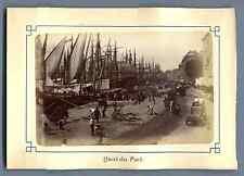 France, Marseille, Quai du Port Vintage albumen print. Photo collée sur carton d