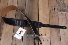 "Levy's 2.5"" Leather Double Stitch High Quality Guitar Strap - Black - NEW & TAGS"