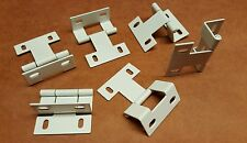 (100) 2 Inch White Wrap around Door HINGES with 4 adjustable screw holes NEW