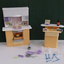 1999 Barbie Kitchen Playset  Oven Stove Sink Accessories Food Lot w/ free ship!