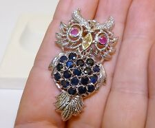 GENUINE! 3.20tcw African Sapphire & Ruby Owl Brooch Sterling Silver 925