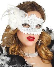 Femme Sexy Fleur Blanche Bal Masqué Carnival Masque Yeux Costume Déguisement