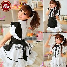 Coffee Shop White Dress Black Apron Lolita Lovely Maid Women Cosplay Costume