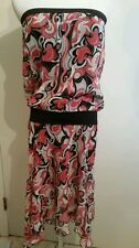 Bebe size XS 100%silk asymmetrical hem strapless dress
