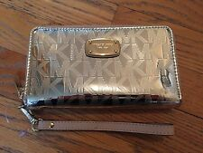 Michael Kors Jet Set Mirror Metallic Wristlet Flat Phone Case Wallet Gold NWT