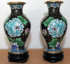 China Cloisonné Paar Vase Japan Vasen carved Messing old chinese floral carving