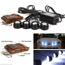 4 In 1 Car Emergency Hawkeye White LED Strobe Lights Wireless Remote Control Kit