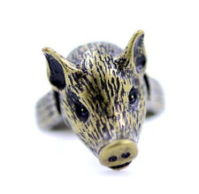 vintage antique style bronze coloured pig piglet charm ring, UK size N
