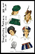 """Fabric Sewing Pattern 1940's SIMPLICITY #3651 Millinery Cap Hats & BAG 23"""" BERET"""