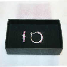 Natural Round Red Ruby Diamond Hoop Earrings 18mm 14k White Gold over 925 SS