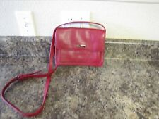 "LEATHER CO ""RED"" CROSSBODY BAG BY LIZ CLAIBORNE with RED STITCHING"