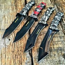 "4 PC ASSORTED SET 9.5"" TACTICAL Hunting Knife Survival Military Fixed Blade NEW"