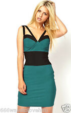 Rare UK 10/38 Double Strap Valentines Bandage Bodycon Cup Dress Turquoise Blue