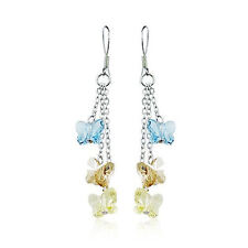 925 Sterling Silver Dangle Butterfly Earrings made with Swarovski Crystals