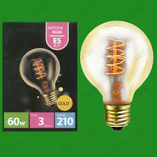 2x 60W Antique Vintage Gold G80 Dimmable Globe Light Bulbs, Screw ES E27 Lamps