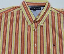 TC6093 TOMMY HILFIGER HEMD Gelb Orange Weiß Blau Streifen kurzarm Gr.XL wie NEU
