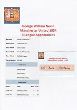 GEORGE NEVIN MANCHESTER UNITED 1934 VERY RARE ORIGINAL HAND SIGNED CUTTING/CARD