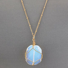 Long Gold Flat Cut Iridescent Stone Bohemian Style Simple Pendant Necklace