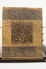 "Antique Hand Tooled Italy Worn Leather Book Cover 15 1/2"" X 12"" Grecian Children"
