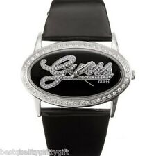 GUESS BLACK PATENT LEATHER STRAP+CRYSTAL SURROUNDED SILVER OVAL DIAL-W85029L1