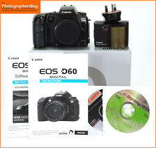 Canon EOS D60 6.3 MP fotocamera reflex digitale corpo Batteria & Caricabatterie + GRATIS UK POST