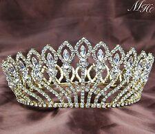 Gorgeous Full Tiara Diadem Floral Gold Rhinestones Crown Bridal Wedding Pageant